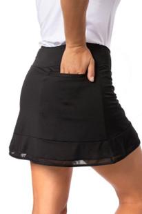 Golftini Pull-On Mesh Ruffle Skort - Top Golf Black