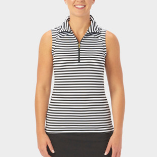 Nancy Lopez Flight Sleeveless Polo - Black/White Stripe