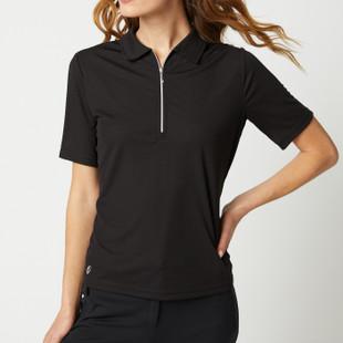 Jane Half Sleeve Polo - Black