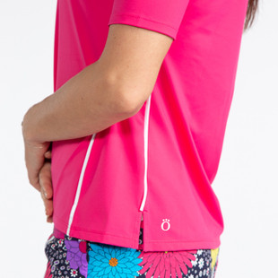 KINONA Keep it Covered Short Sleeve Mock - Flamingo