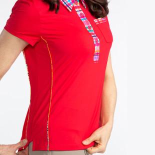 KINONA Button & Run Short Sleeve Polo - Red
