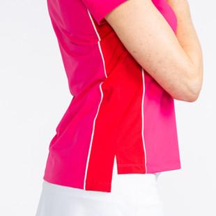 KINONA Button & Run Short Sleeve Polo - Flamingo