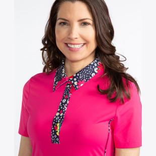 KINONA Button & Run Short Sleeve Golf Dress - Flamingo