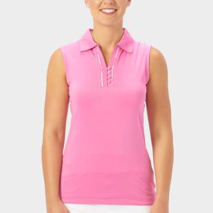 Nancy Lopez Subtle Sleeveless Polo - Hot Pink