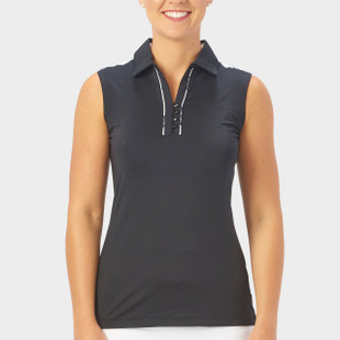 Nancy Lopez Subtle Sleeveless Polo - Black
