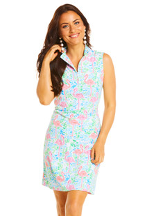 IBKUL Flamingo Sleeveless Mock Dress (2 colors)