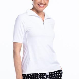Keep it Covered Short Sleeve Mock - White