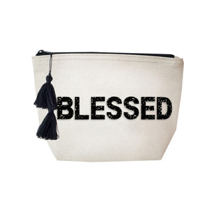 Fallon & Royce Black Crystal Cosmetic Bag - Blessed