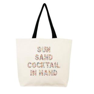 Fallon & Royce Confetti Bead Tote - Sun Sand Cocktail In Hand