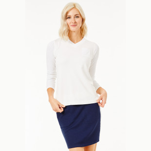 BelynKey V-Neck Pocket Pullover - Chalk