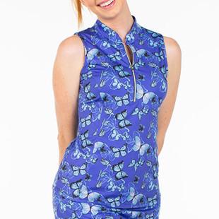 Amy Sport Frontline Sleeveless Mock - Blue Butterfly
