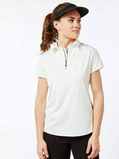 BelynKey Zip Keystone Cap Sleeve Polo - Chalk