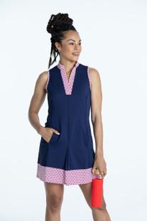 KINONA Kick Pleat Chic Sleeveless Dress - Navy