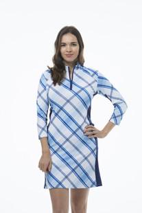 SanSoleil SolStyle COOL 3/4 Sleeve Dress - Hop Scotch Blue