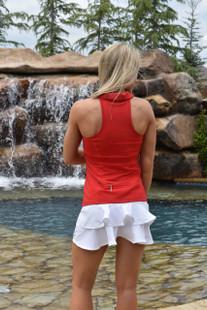 FlirTee Double Ruffle Golf Skort White