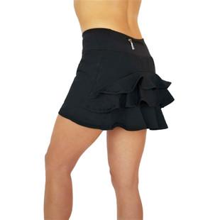 FlirTee Ruffle Butt Solid Golf Skort Black