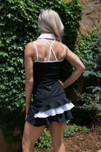 FlirTee Strap Back Golf Polo Black