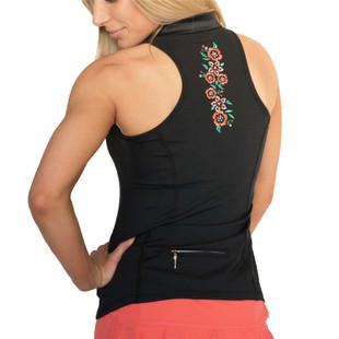 FlirTee Embroidered Racerback Polo Black