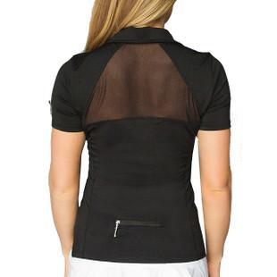 FlirTee Short Sleeve Mesh Inlay Polo Black