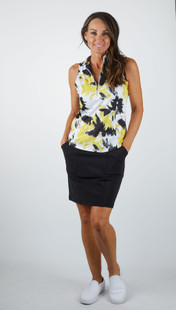 Amy Sport Frontline Sleeveless Mock - Yellow Tie Dye