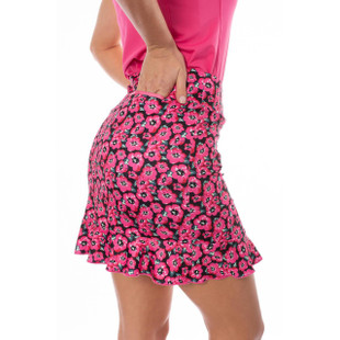 """Hot Pink Floral Pull-On Stretch Skort with A Ruffle 18""""   Little Red Corvette"""