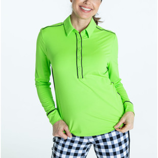 At The Pin Long Sleeve Polo - Grass Green