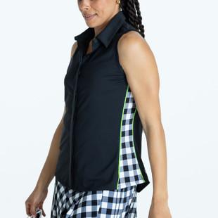 Slimming Sleeveless Splouse Polo - Black
