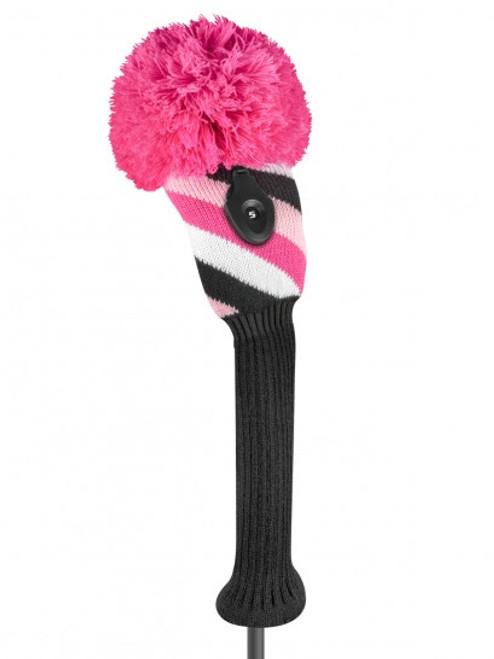 Diagonal Stripe Fairway Headcover - Pink, Black, & White