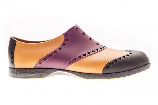 BIION Wingtips Golf Shoe - Crimson, Black, Leather