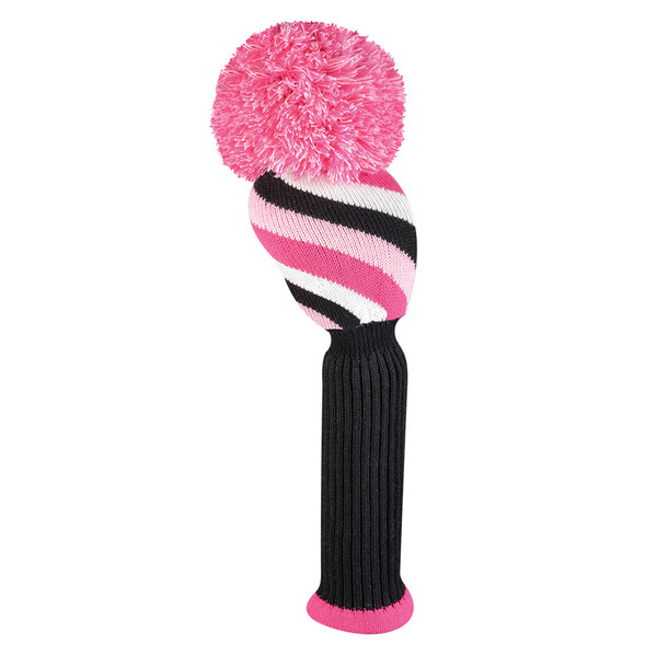 Just4Golf Driver Headcover - Pink/Black Diagonal Stripes