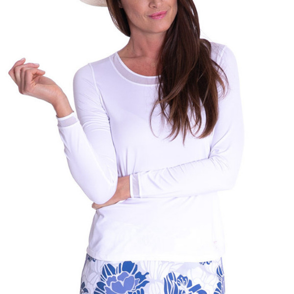 Long Sleeve Mesh Trim Top - White