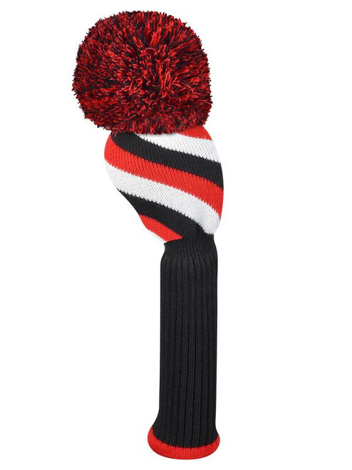 Just4Golf Driver Headcover - Red/Black Diagonal Stripe