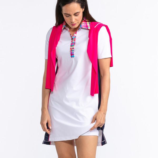 KINONA Button & Run Short Sleeve Golf Dress - White