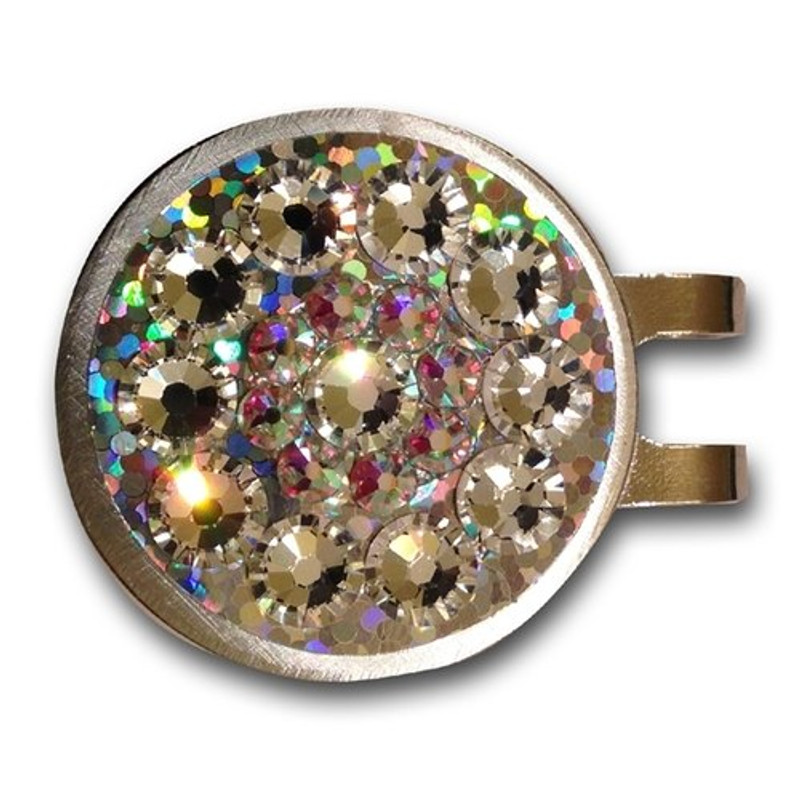Base: Gold Reflective Outer Ring: Crystal Inner Ring: Crystal Center: Crystal