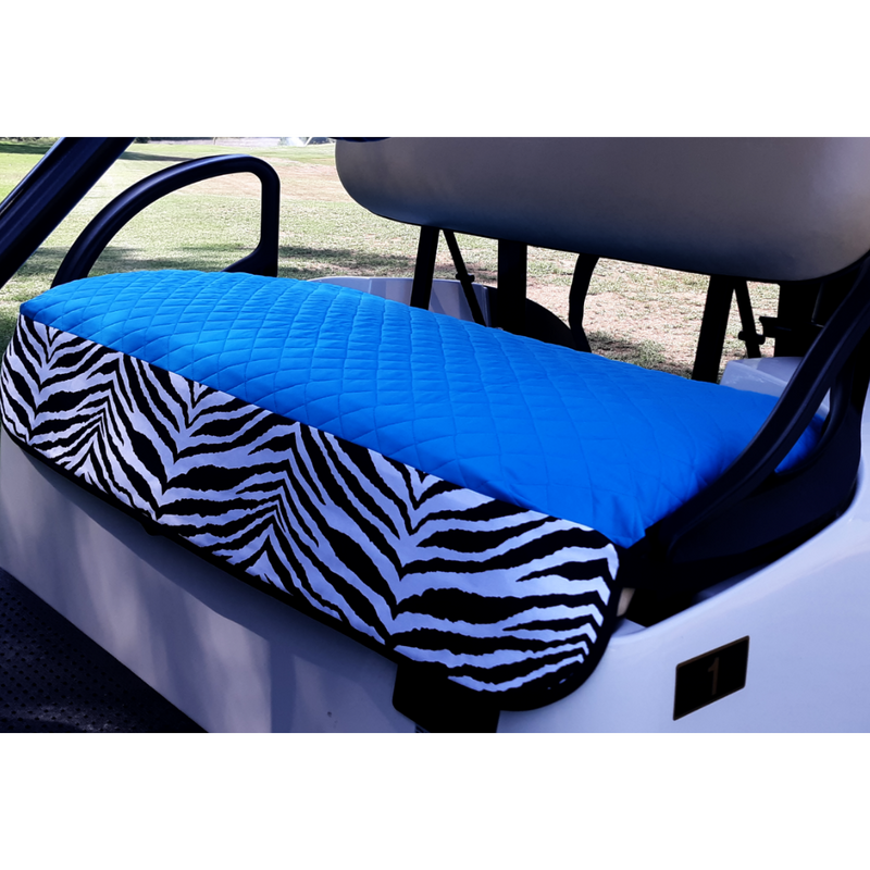 GolfChic Quilted Golf Cart Seat Cover - Turquoise/Zebra