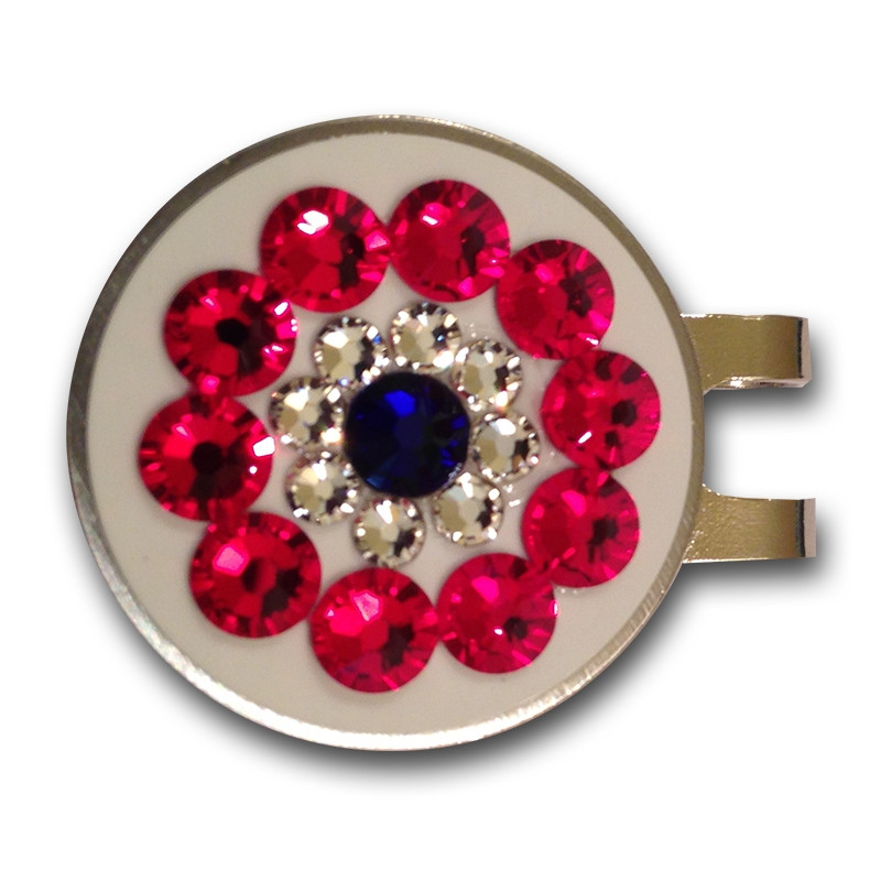 Base: White Outer Ring: Red Inner Ring: Crystal Center: Cobalt