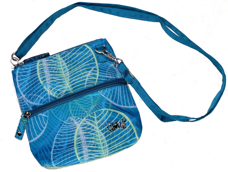 Glove It 2-Zip Cross Body Bag - Aqua Leaf