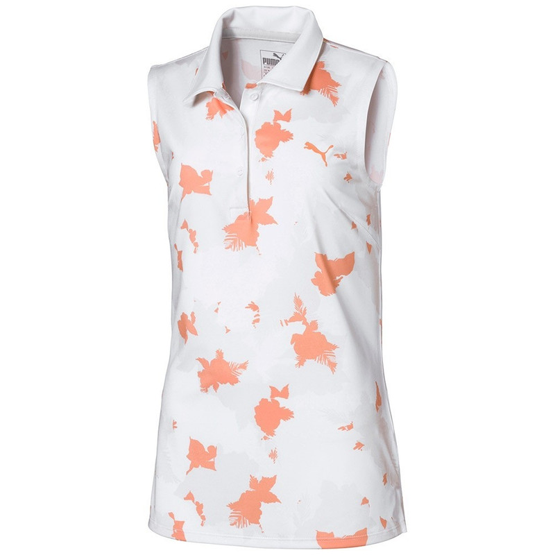 Puma Junior Floral Sleeveless Golf Polo - Rosewater