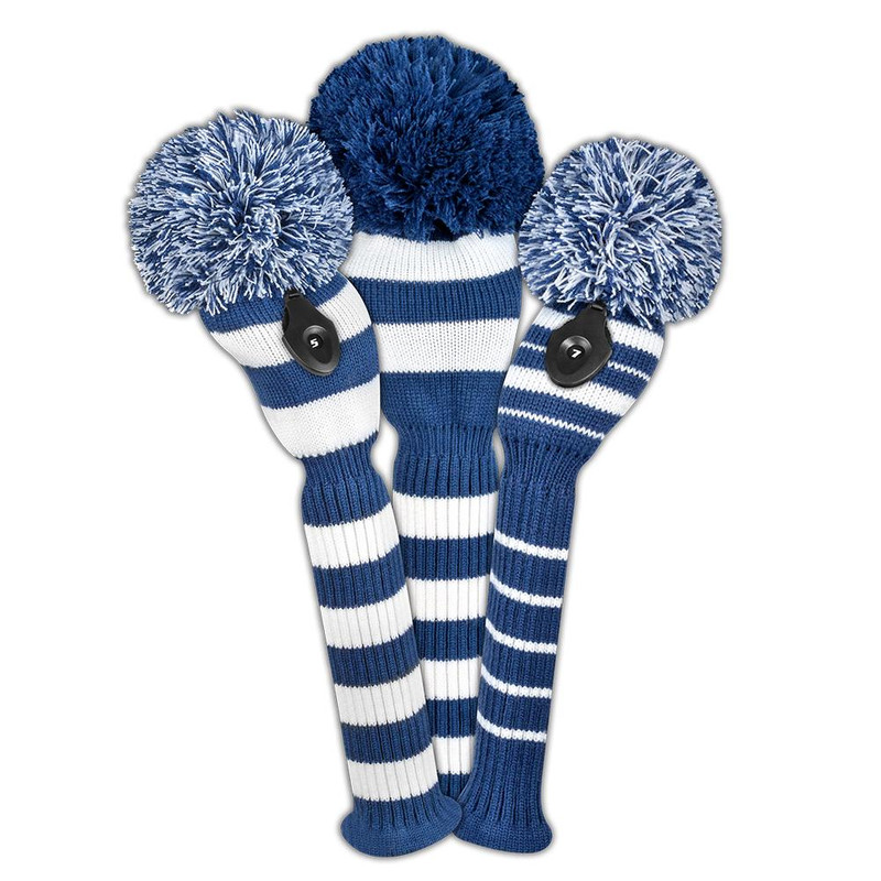 Just4Golf Headcover Set (3pc) - Navy/White Stripe
