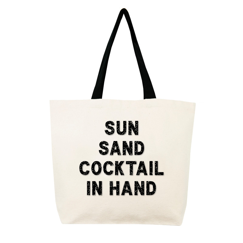 Fallon & Royce Black Crystal Tote - Sun Sand Cocktail in Hand