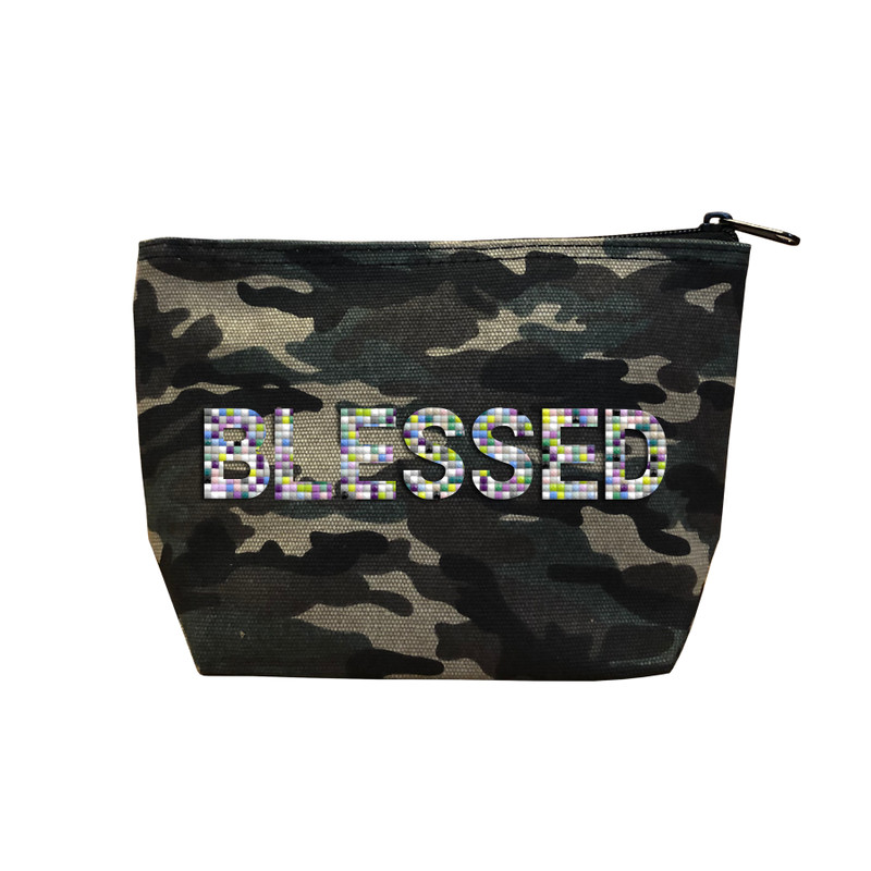 Fallon & Royce Camo Confetti Bead Cosmetic Case - Blessed