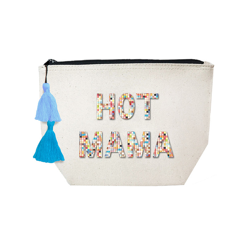 Fallon & Royce Confetti Bead Cosmetic Case - Hot Mama