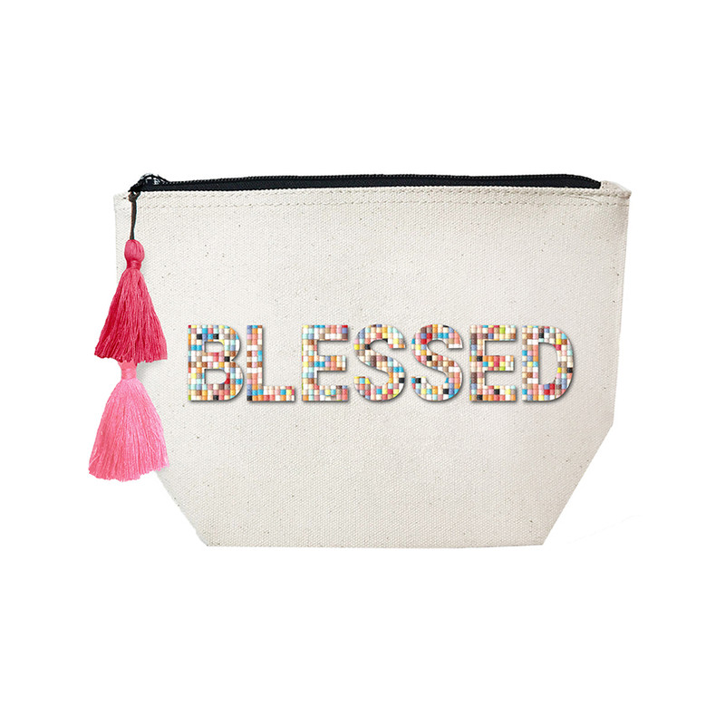 Fallon & Royce Confetti Bead Cosmetic Case - Blessed
