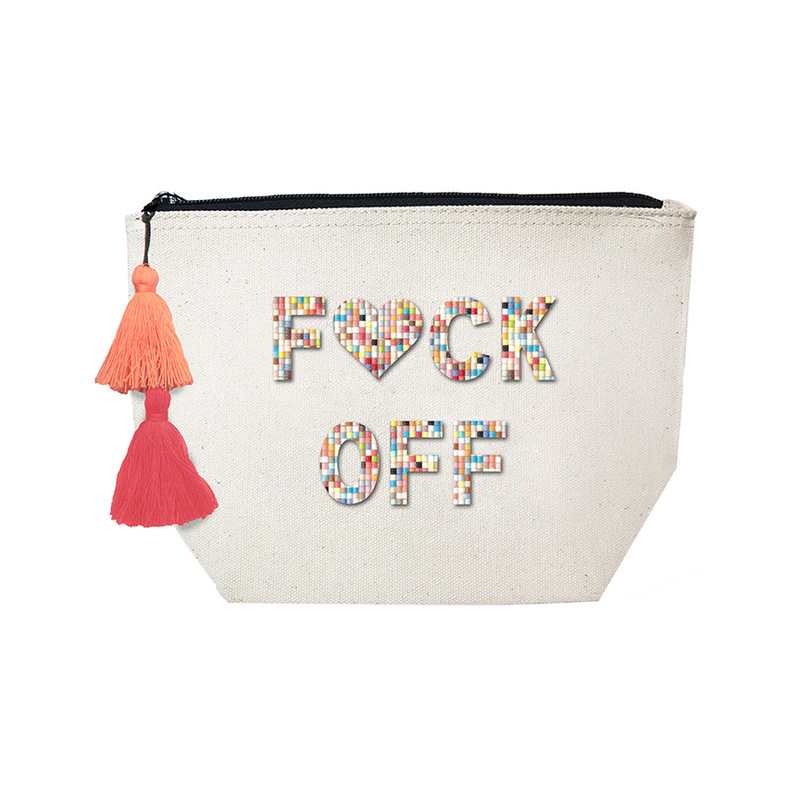 Fallon & Royce Confetti Bead Cosmetic Case - F*ck Off