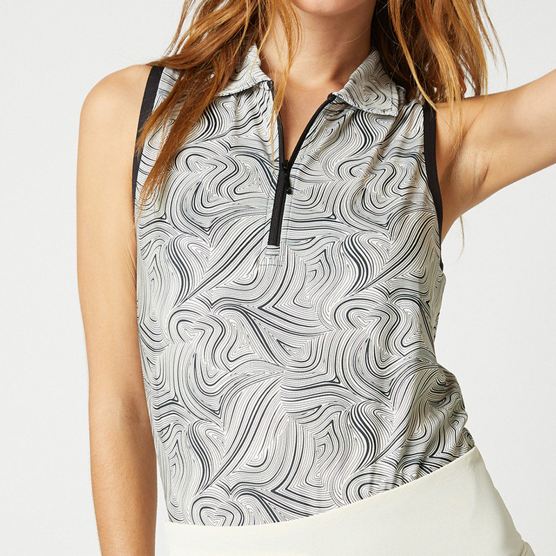 Elina Sleeveless Polo - Black Swirl