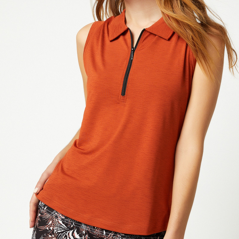 Katy Sleeveless Polo - Copper