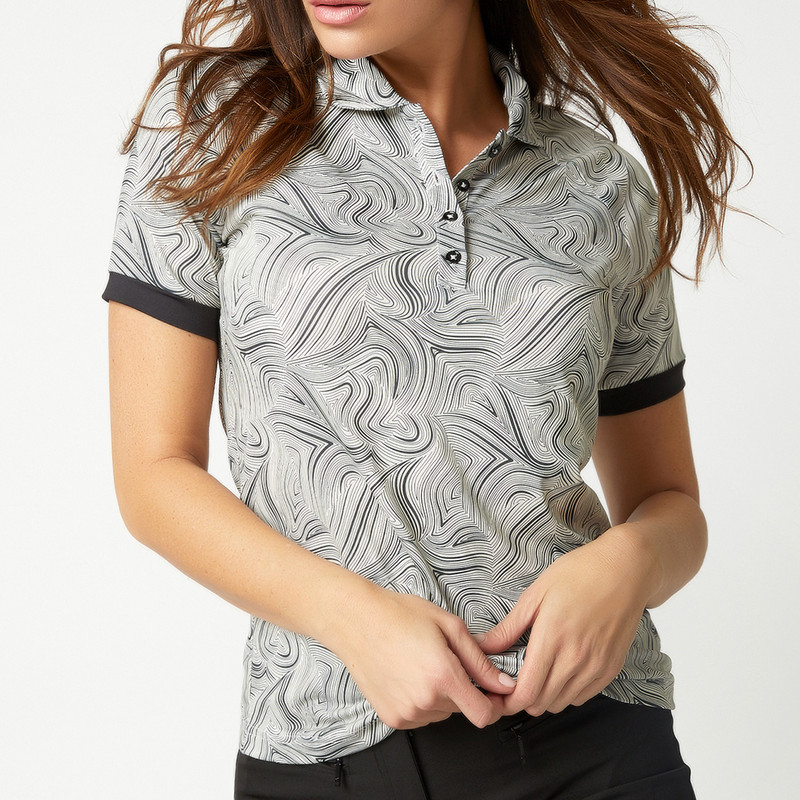 Dawn Short Sleeve Polo - Black Swirl