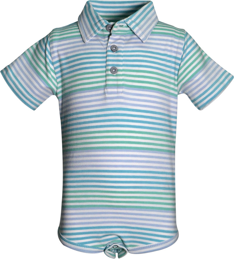 Garb Boys Colvin Yarn Dyed Stripe Romper - Aquatic Blue