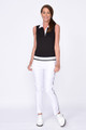 Golftini Tech Contrast Sleeveless Polo - Black