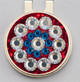 Base: Red Reflective Outer Ring: Crystal Inner Ring: Cobalt Center: Crystal